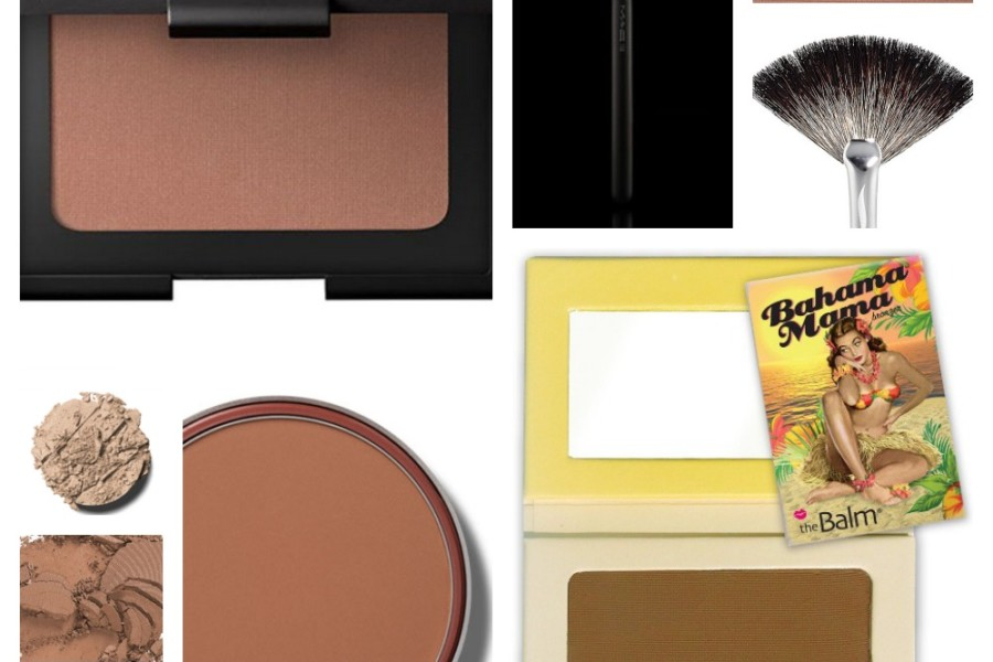 Collage of bronzer products and colors for blog