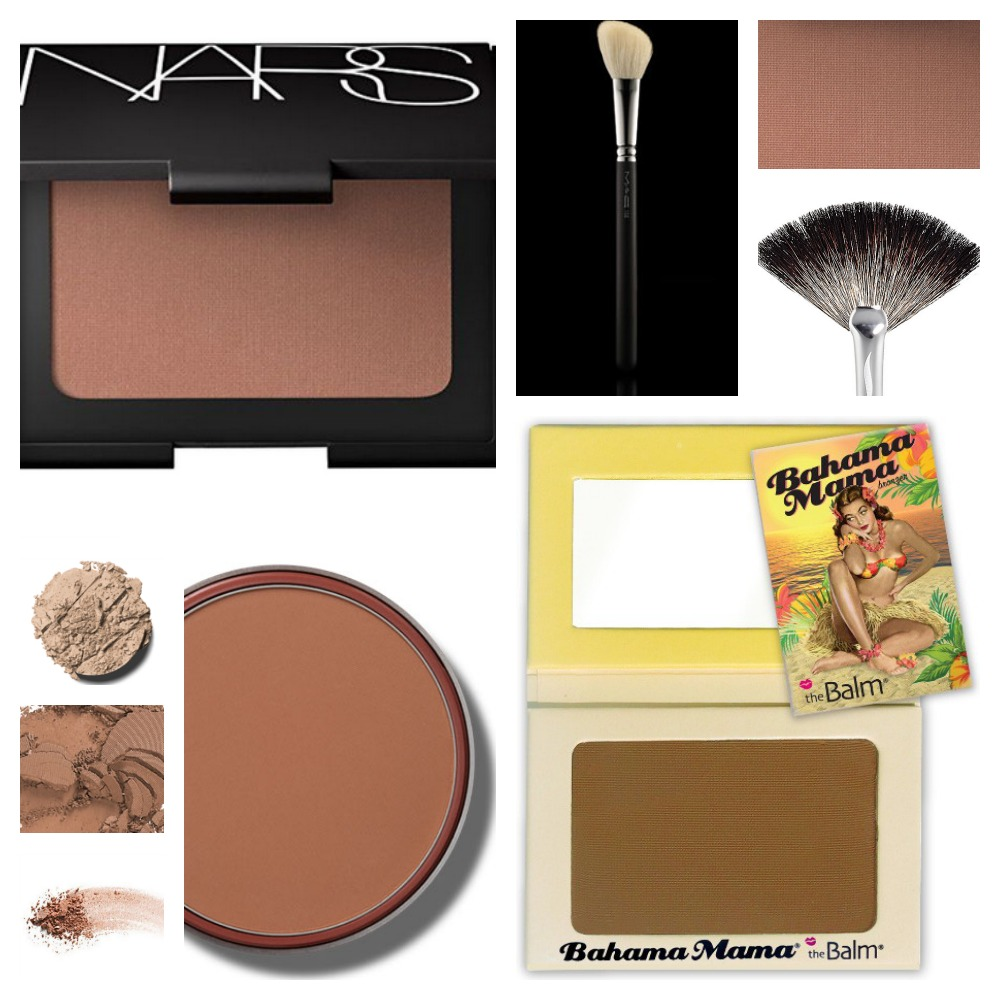 Collage of bronzer products and colors