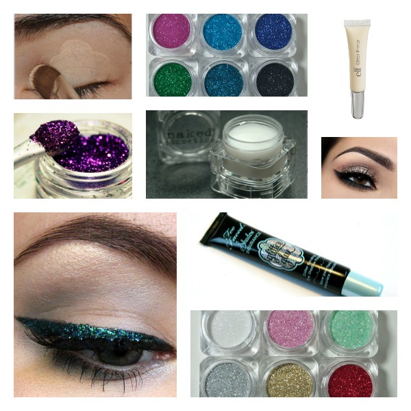 Glitter, eyeshadow, eye primer, glitter glue image collage