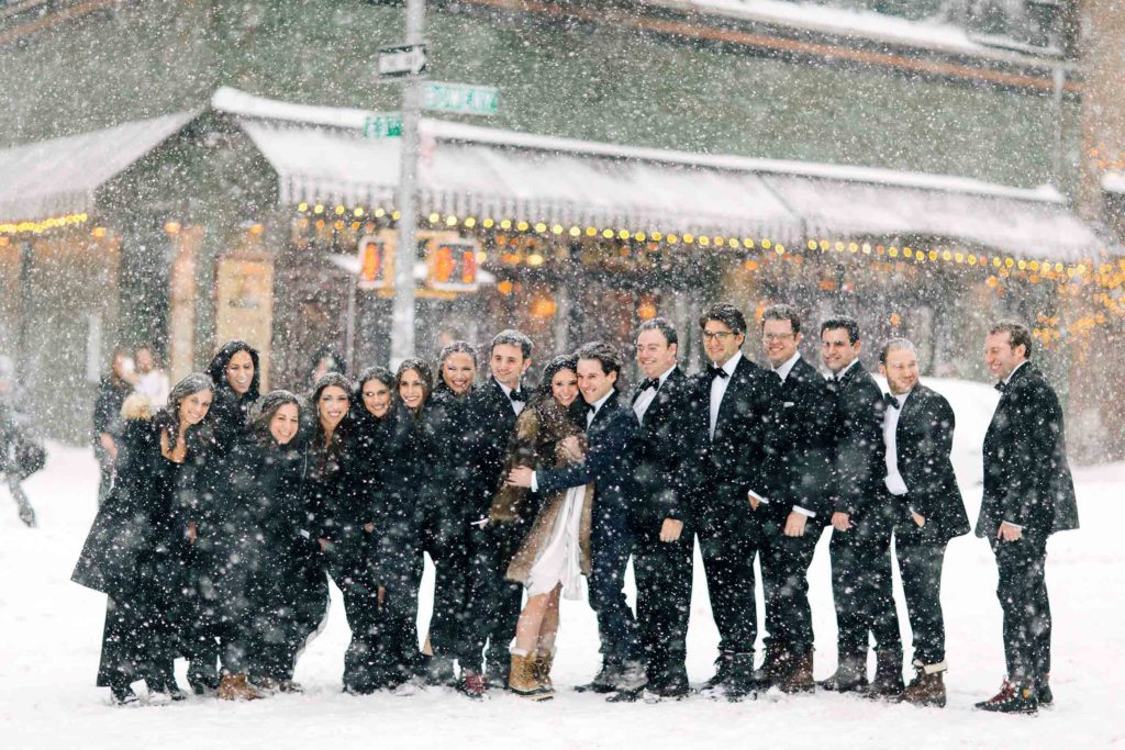 wedding party blizzard group portrait