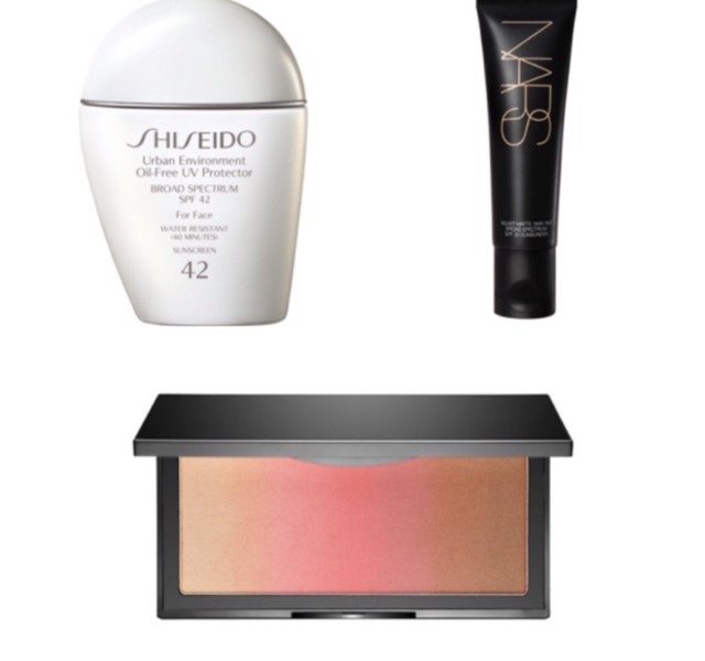 Shiseido sunscreen, Nars tinted moisturizer, and Kevyn Aucoin blush bronzer combination