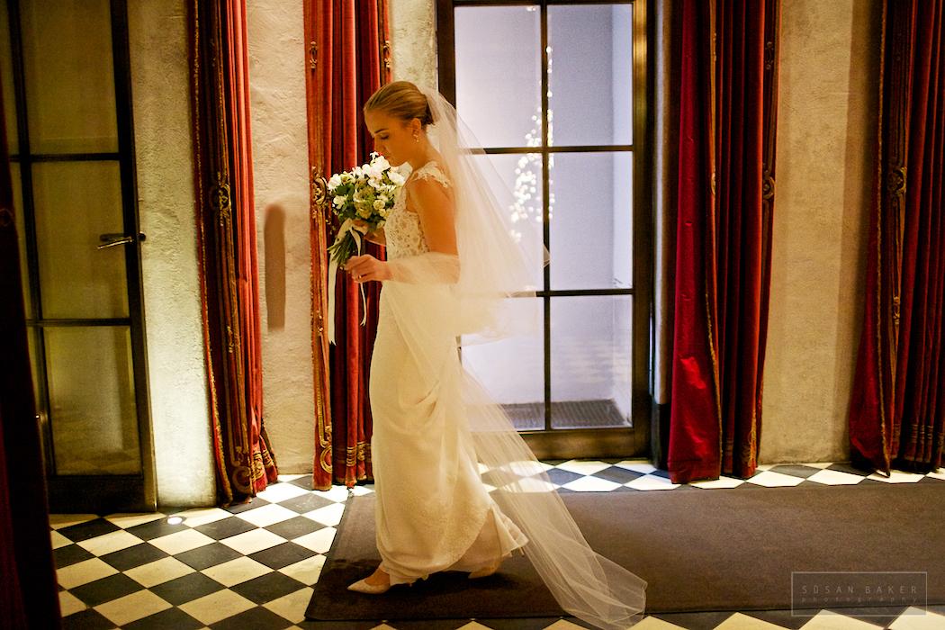 Holiday bride on wedding day at Gramercy Park Hotel