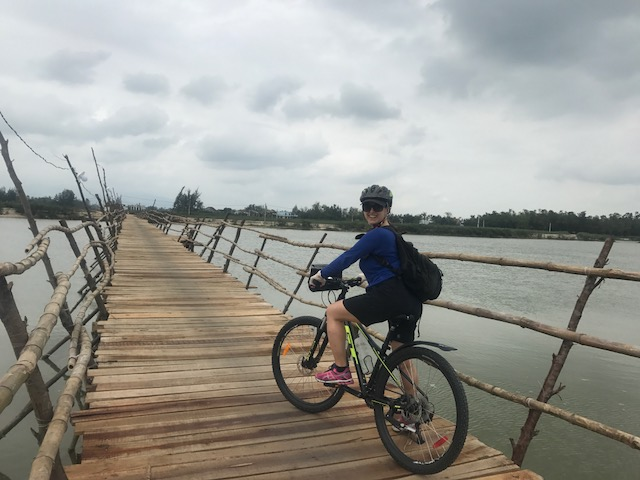 On a bike, on a bridge, in Vietnam!