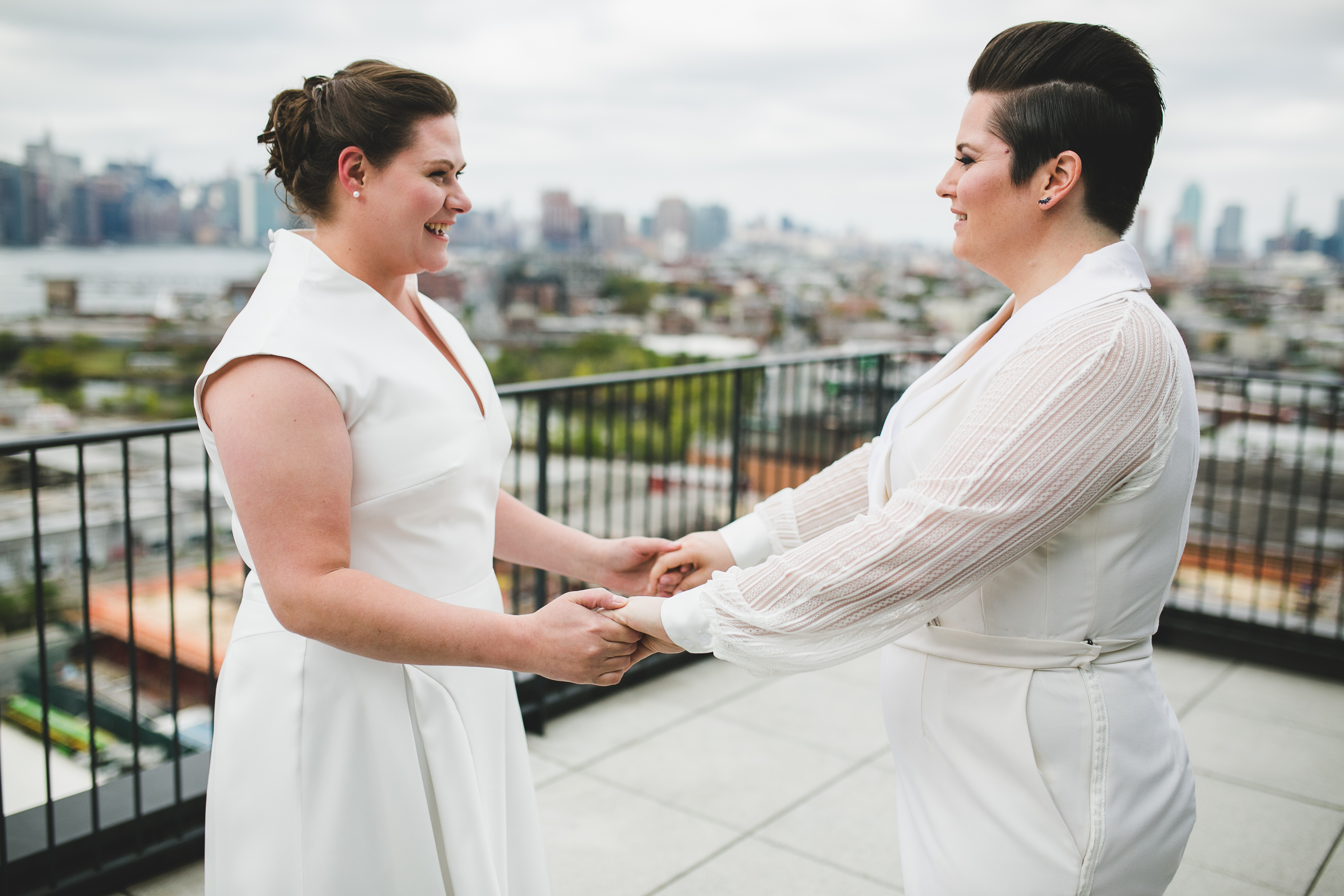 Two brides getting married at the Wythe Hotel, Williamsburg, Brooklyn