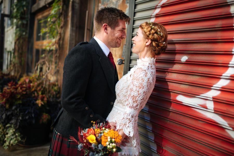 Elopement couple in New York City having intimate wedding