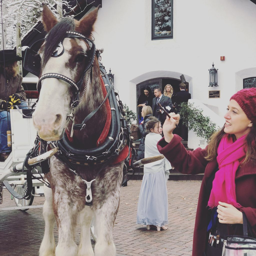 Sharon, makeup brush in hand, next to a horse hooked up to a carriage.