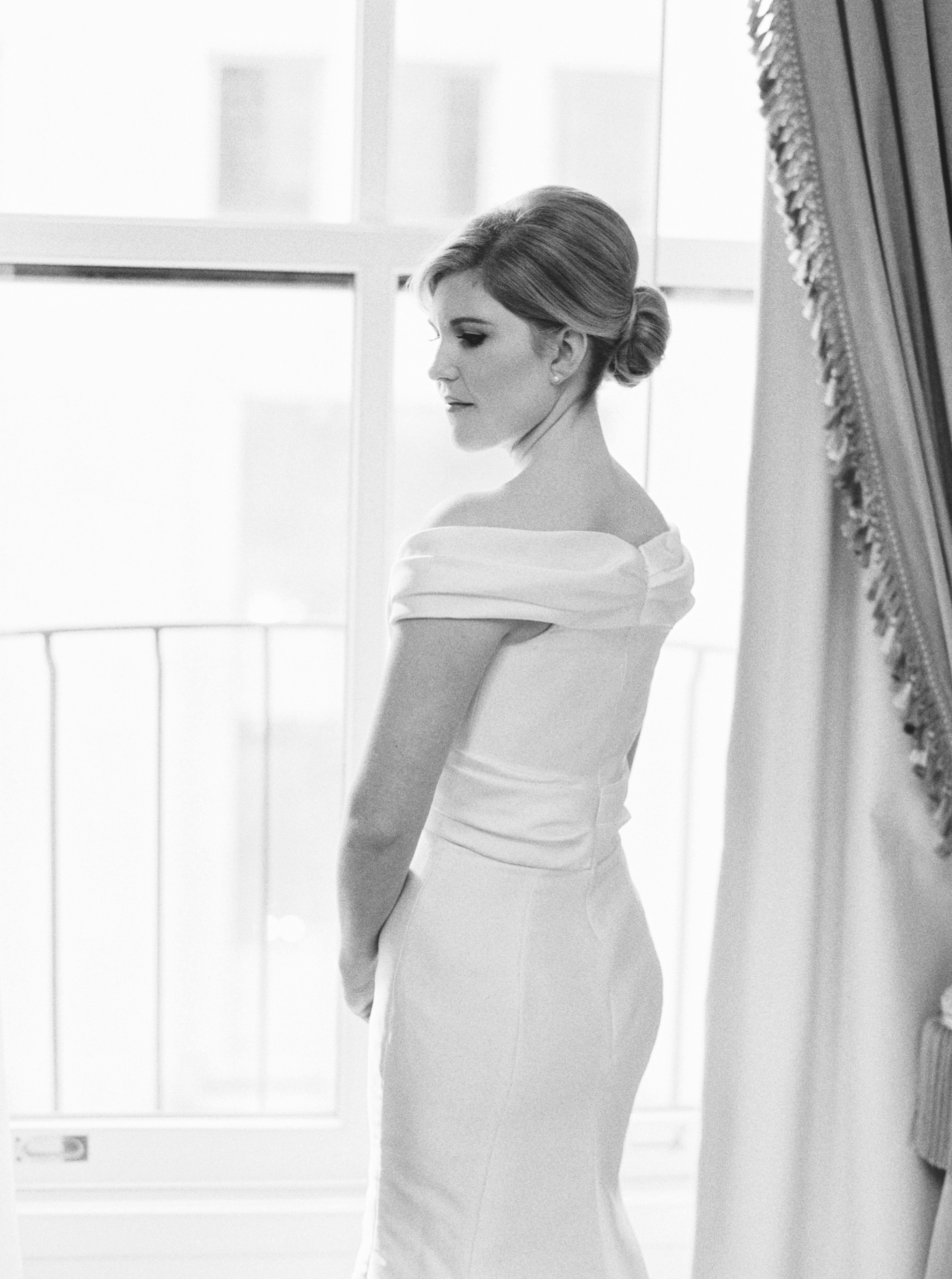 Bride at University Club in NYC with elegant modern chignon