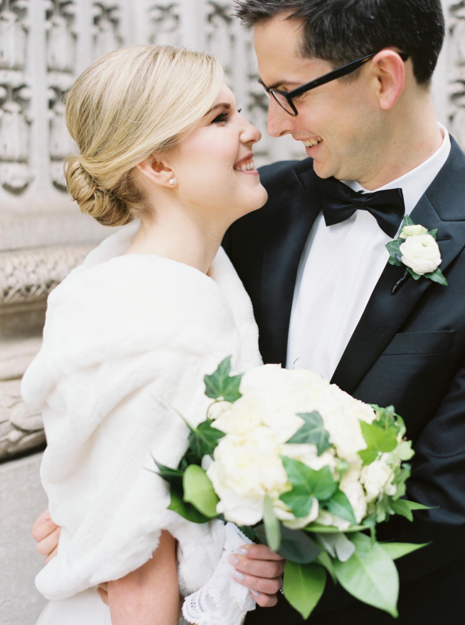 Elegant bride at University Club in NYC with blonde chignon