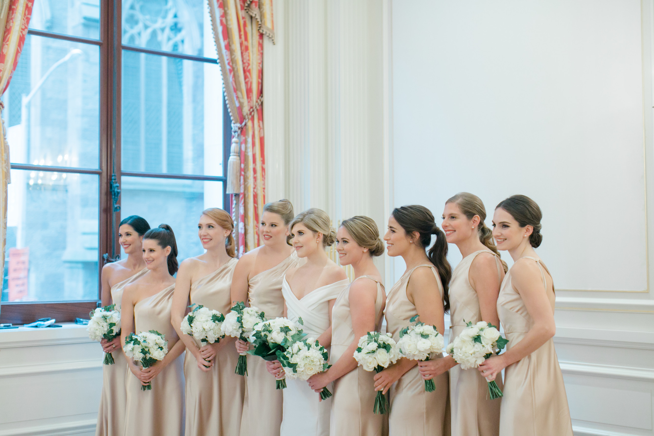 Bride and her bridesmaids at University Club in New York City all with unique hairstyles