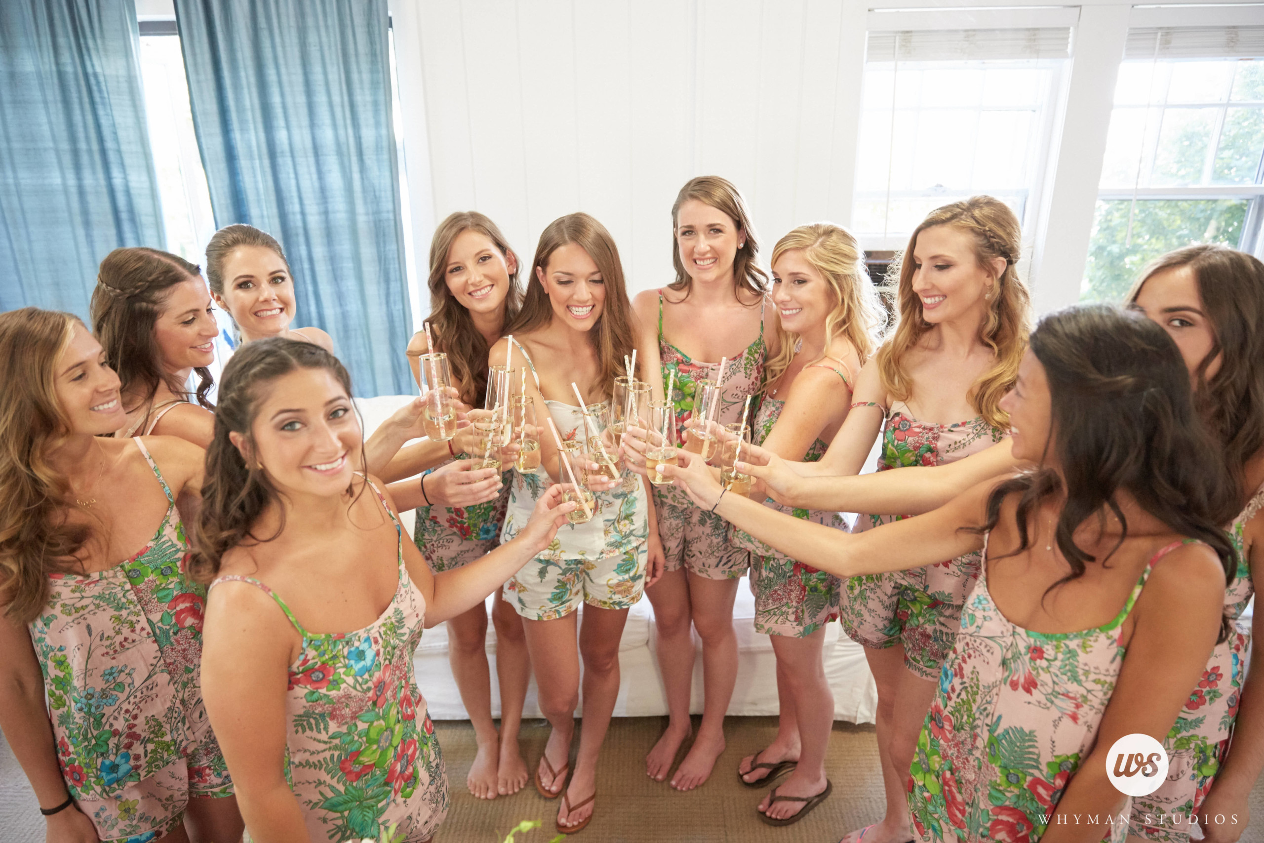 Bridesmaids with different hairstyles, pictured in Montauk