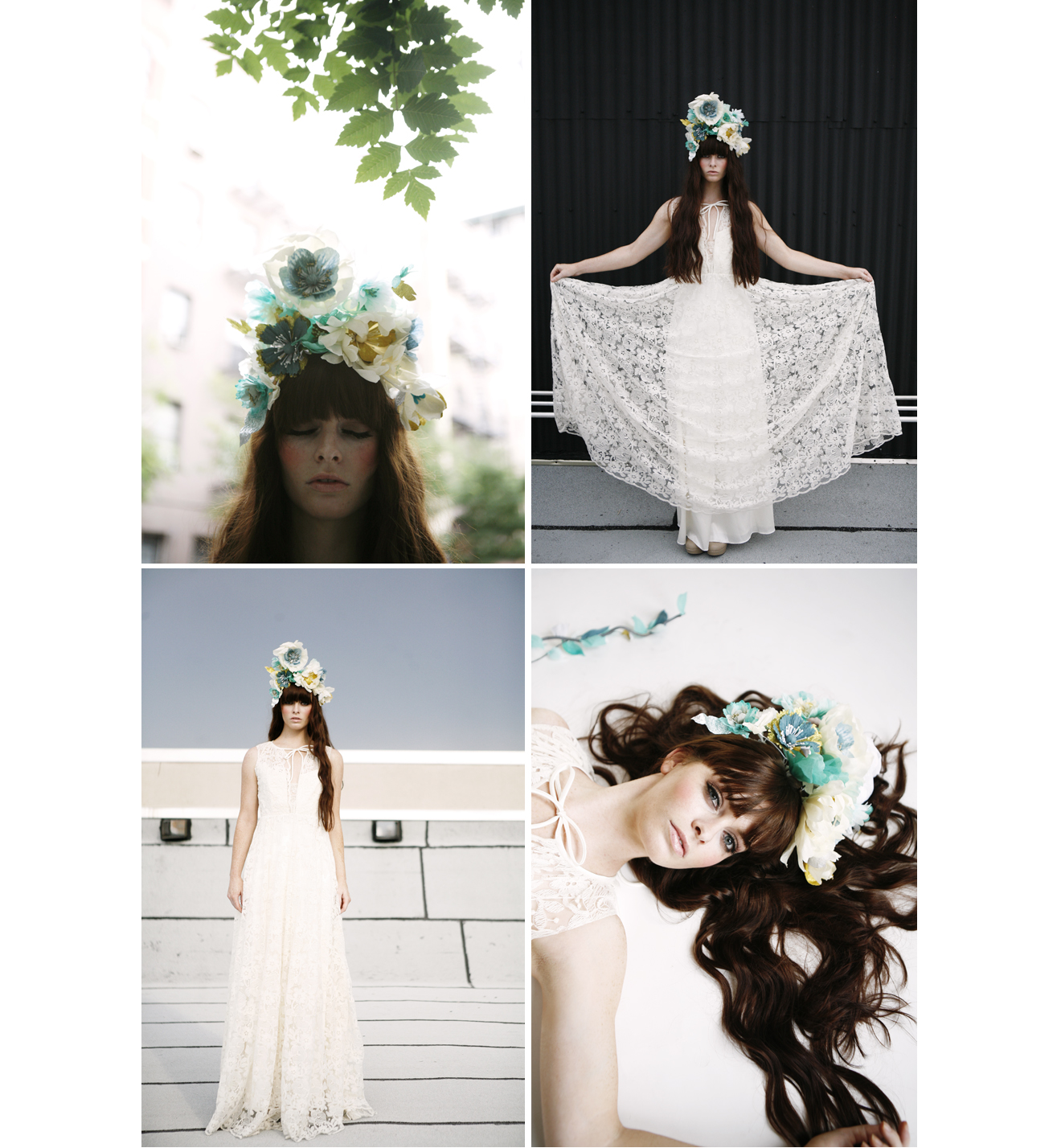 Bride with very long auburn hair wearing flower crown