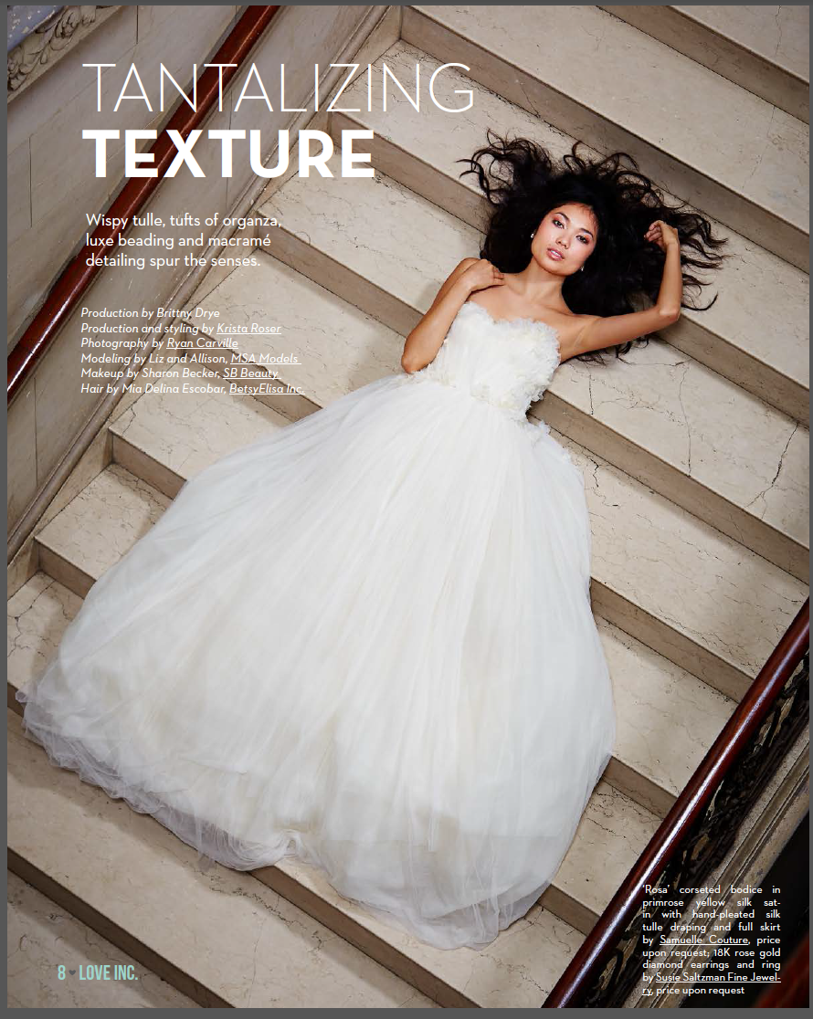 Model in full ball gown posing for magazine