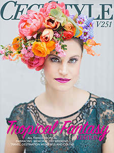 Ceci Johnson with vibrant pink lipstick and flower crown
